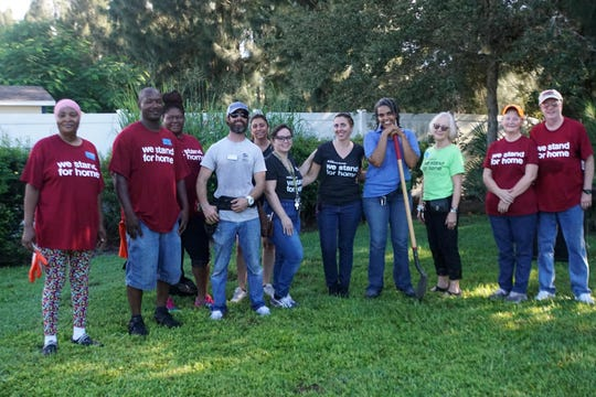 Linda Jackson, left, Terrance Lee, Caroline Anderson, Charlie Shain, Michele Feathers, Jessica Restrepo, Karyn Bryant, Nicole Munroe, Betty Talley, Cathy Shain and Robert Shain volunteered their time during United Way's Day of Caring project at Grace Grove Community Park in Gifford.