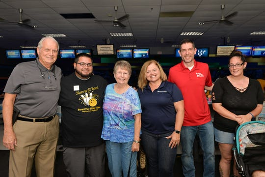 Vern Melvin, left, Nelson Sanchez, Maureen Melvin, Tammy Roncaglione, Sean Boyle and Jessica Baker at the 30th annual Bowl for Kids' Sake.
