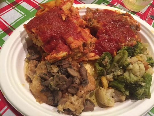 The wonderful food prepared by very good volunteers and enjoyed by all. Included are: Backed Ziti with meatballs, Eggplan Parmesan, Chicken Marsala and Mixed vegetables, Meal ended with Cannoli supplied by the St. Lucie Bakery and Espresso coffee.