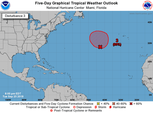 Post-tropical Cyclone Leslie has an 80 percent chance of redeveloping as of 8 p.m. Tuesday, Sept. 25, 2018.