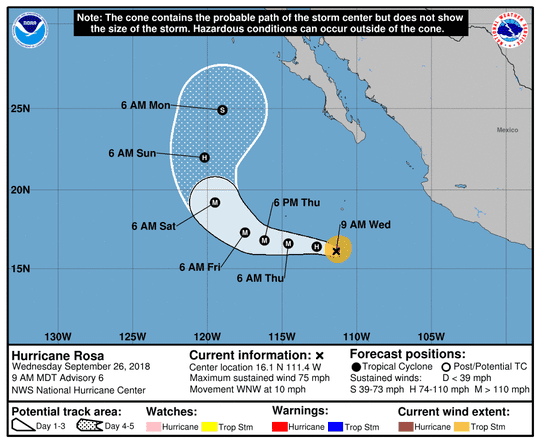 Hurricane Rosa 11 a.m. Sept. 26, 2018