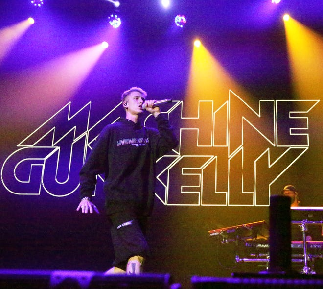 Machine Gun Kelly performs Tuesday night in the Don Haskins Center before Fall Out Boy.