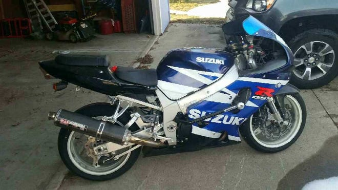 Sometime between Aug. 17 and 18, a motorcycle was stolen from the parking lot of an apartment building, located on Sternberg Avenue in the village of Weston. The motorcycle is described as a blue, 2003 Suzuki GSXR 750, with white accents, much like the one pictured here.