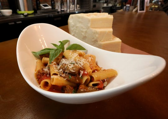 Rigatoni with eggplant basil tomato sauce at the TWK Community Market in Piermont Sept. 26, 2018.
