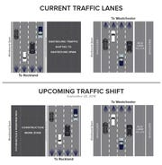 A diagram showing the traffic configuration before and after Friday night's Rockland-bound traffic shift.
