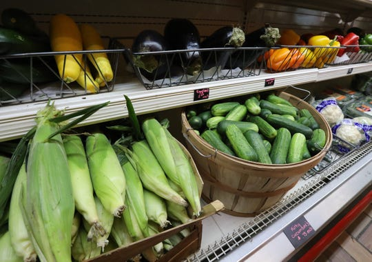 Corn from Dr. Davies Farm and other fresh produce at the TWK Community Market in Piermont Sept. 26, 2018.