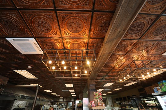 Decorative ceiling tiles make a big impression at the TWK Community Market in Piermont Sept. 26, 2018.
