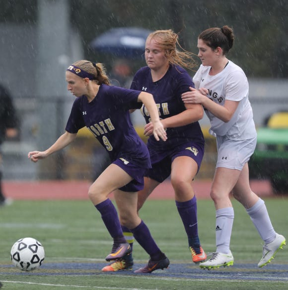 Clarkstown North's Jessica Polvino (9) pushes the ball up the field during girls soccer game at Clarkstown North High School in New City on Sept.25, 2018. Clarkstown North defeats Clarkstown South 1-0.