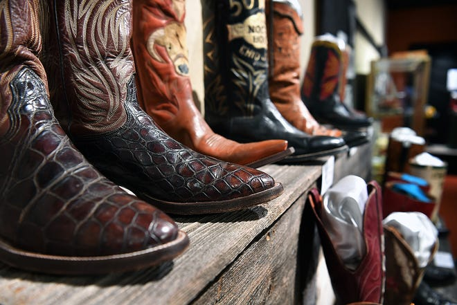 The Boots On North Texas exhibit at the Museum of North Texas History features a wide variety of boot makers, styles, sizes and hides.