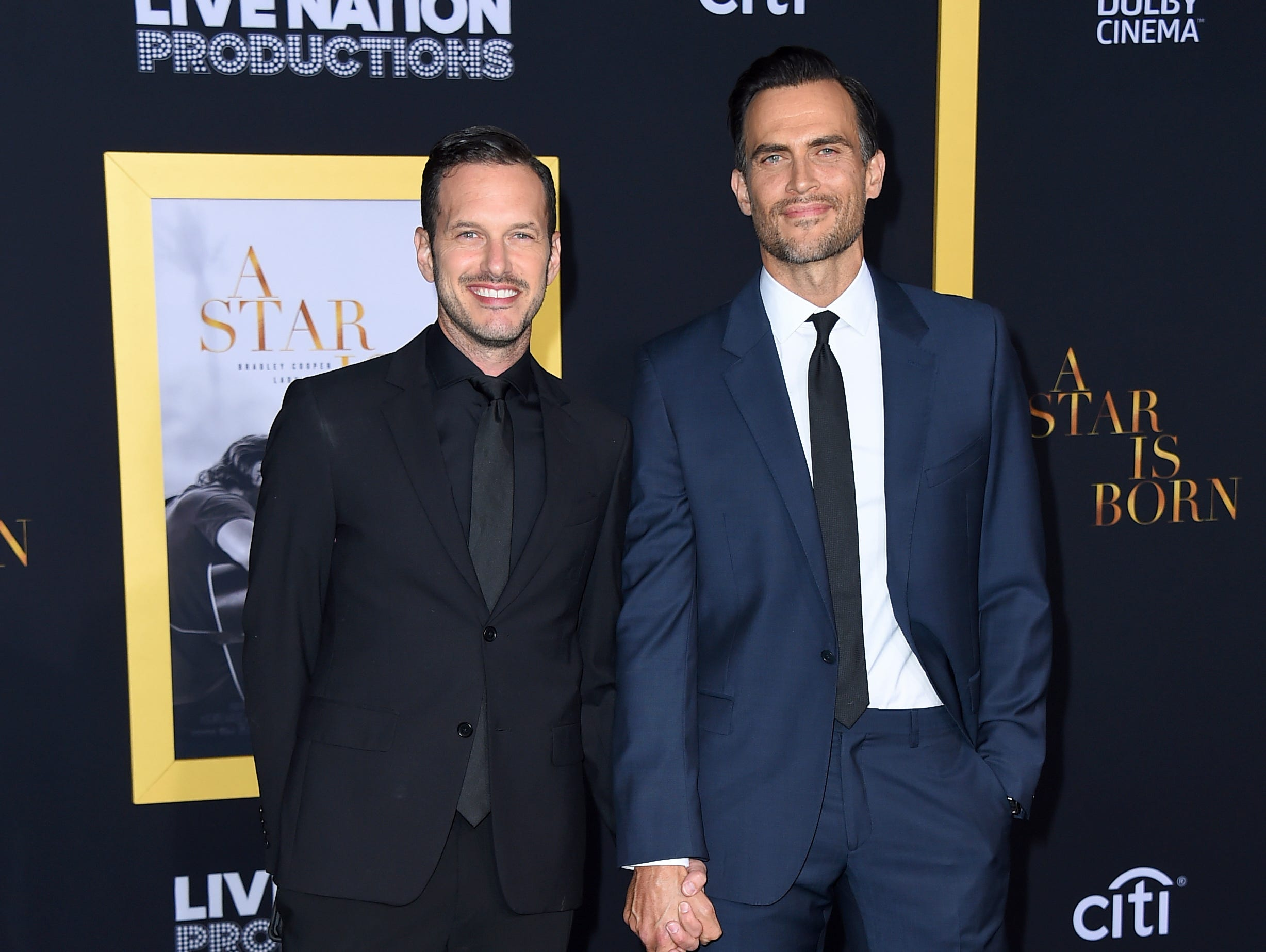 "Jason Landau, left, and Cheyenne Jackson arrive at the Los Angeles premiere of ""A Star Is Born"" on Monday, Sept. 24, 2018, at the Shrine Auditorium. (Photo by Jordan Strauss/Invision/AP) ORG XMIT: CAPM158"