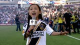 She's only 7 years old, but Malea Emma Tjandrawidjaja already has sung the national anthem at several huge sporting events across the country.