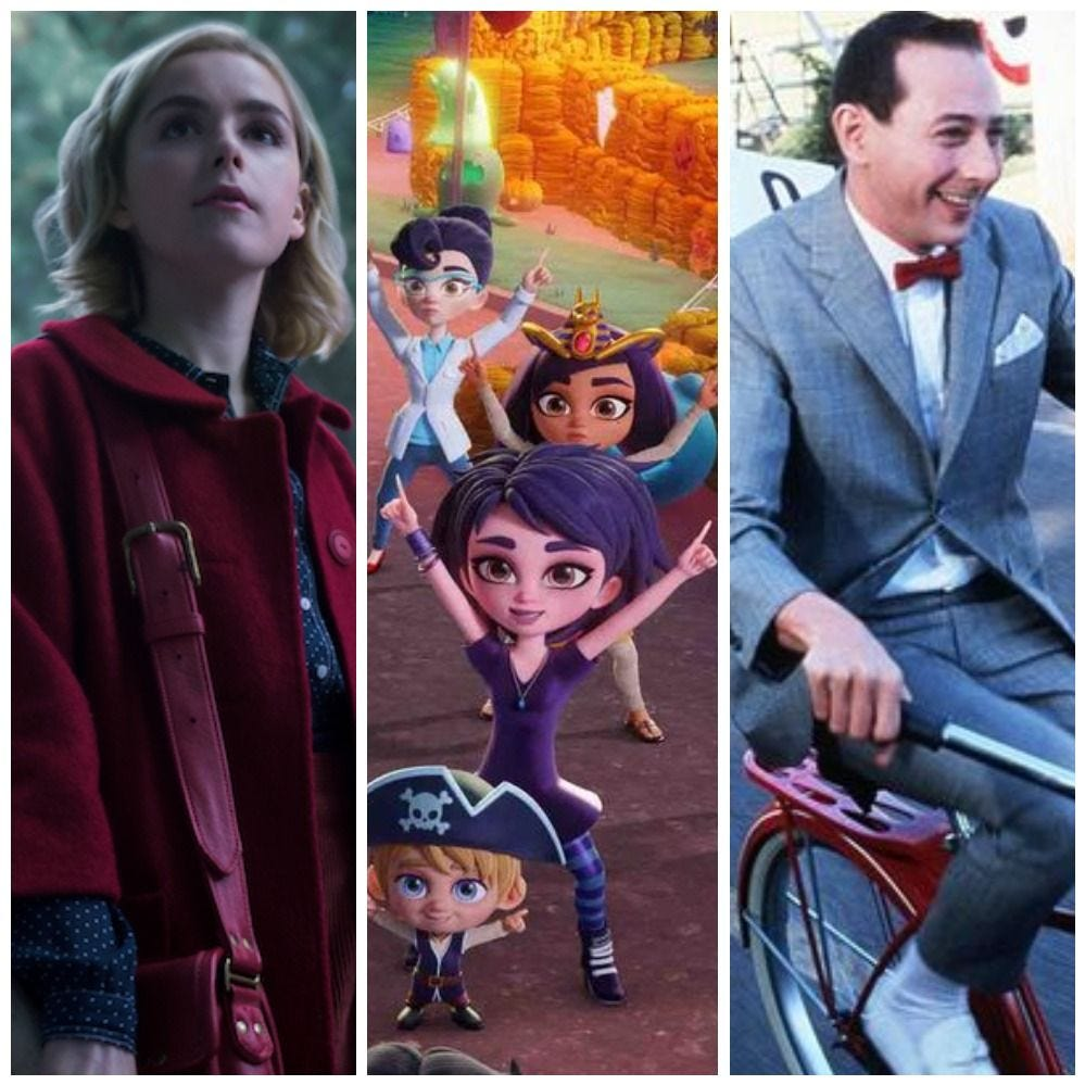 "Netflix movies perfect for kids and families in October include, ""Chilling Adventures of Sabrina,"" ""Super Monsters Save Halloween"" and ""Pee Wee Herman's Big Adventure."""