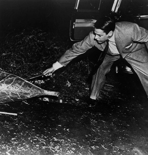 """Kevin McCarthy prods an alien pod in """"Invasion of the Body Snatchers."""""""