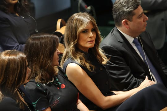 First lady Melania Trump watches as President Trump prepares to address the 73rd U.N. General Assembly on Sept. 25, 2018 in New York City.
