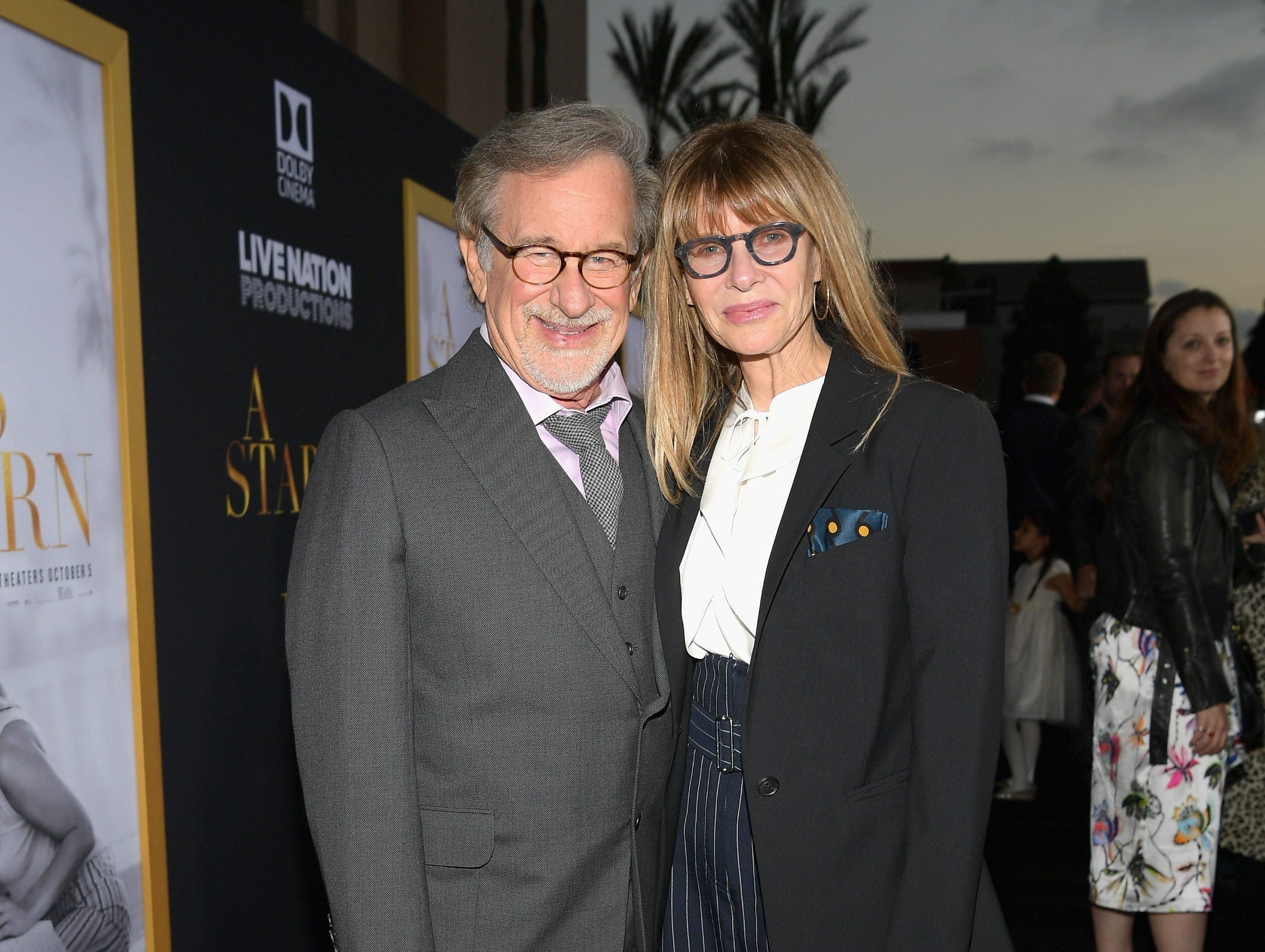 "LOS ANGELES, CA - SEPTEMBER 24:  (L-R) Steven Spielberg and Kate Capshaw arrive on the red carpet at the Premiere Of Warner Bros. Pictures' ""A Star Is Born"" at The Shrine Auditorium on September 24, 2018 in Los Angeles, California.  (Photo by Emma McIntyre/Getty Images) ORG XMIT: 775229471 ORIG FILE ID: 1039666192"