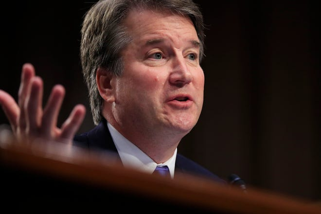 Supreme Court nominee Brett Kavanaugh, testifies before the Senate Judiciary Committee on Capitol Hill in Washington, Sept. 5, 2018, for the second day of his confirmation hearing to replace retired Justice Anthony Kennedy.