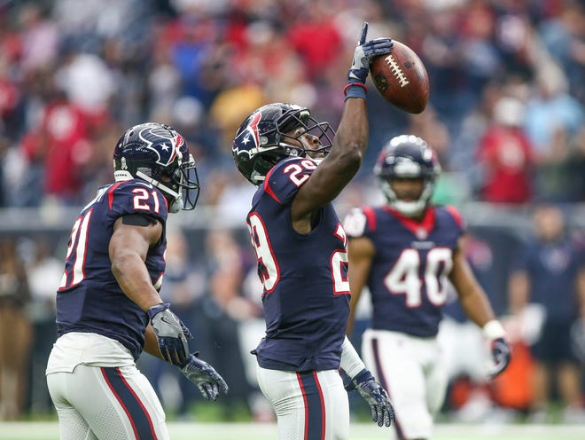 Houston Texans free safety Andre Hal (29) celebrates after making an interception during the fourth quarter against the Arizona Cardinals at NRG Stadium.