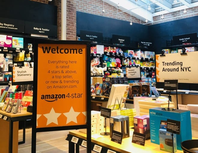 The inside of Amazon 4-Star, the company's first general merchandise store, which opened in New York City's SoHo district on September 27, 2018.