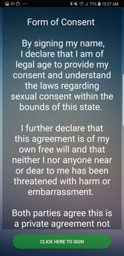 Giving consent inside The Consent App.