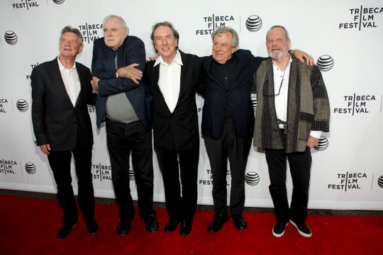 "Michael Palin, from left, John Cleese, Eric Idle, Terry Jones and Terry Gilliam attend a Tribeca Film Festival screening of ""Monty Python and the Holy Grail"" at the Beacon Theatre on Friday, April 24, 2015, in New York."
