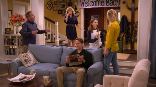 Tim Allen, left, Nancy Travis, Christoph Sanders and Kaitlyn Denver are back and Molly McCook, right, joins the cast as 'Last Man Standing' moves to Fox.