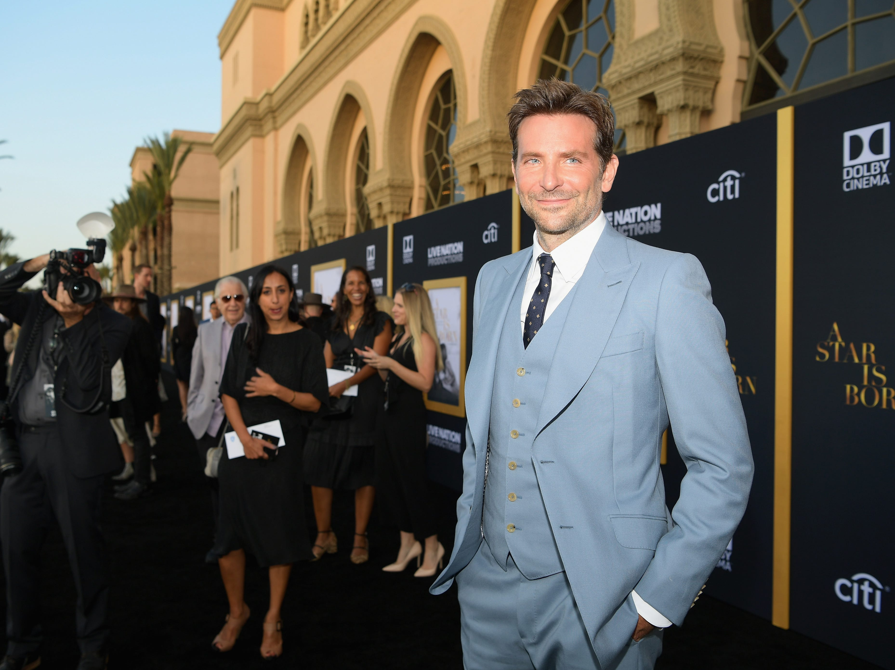 "LOS ANGELES, CA - SEPTEMBER 24:  Bradley Cooper arrives on the red carpet at the Premiere Of Warner Bros. Pictures' ""A Star Is Born"" at The Shrine Auditorium on September 24, 2018 in Los Angeles, California.  (Photo by Emma McIntyre/Getty Images) ORG XMIT: 775229471 ORIG FILE ID: 1039664948"