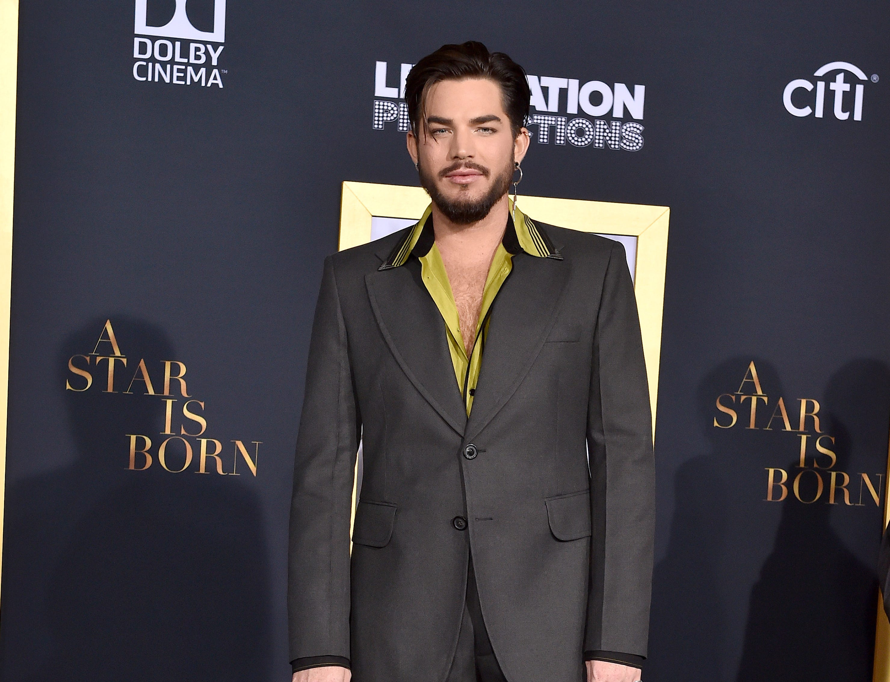 LOS ANGELES, CA - SEPTEMBER 24:  Adam Lambert  attends the premiere of Warner Bros. Pictures' 'A Star Is Born' at The Shrine Auditorium on September 24, 2018 in Los Angeles, California.  (Photo by Axelle/Bauer-Griffin/FilmMagic) ORG XMIT: 775229470 ORIG FILE ID: 1039815720