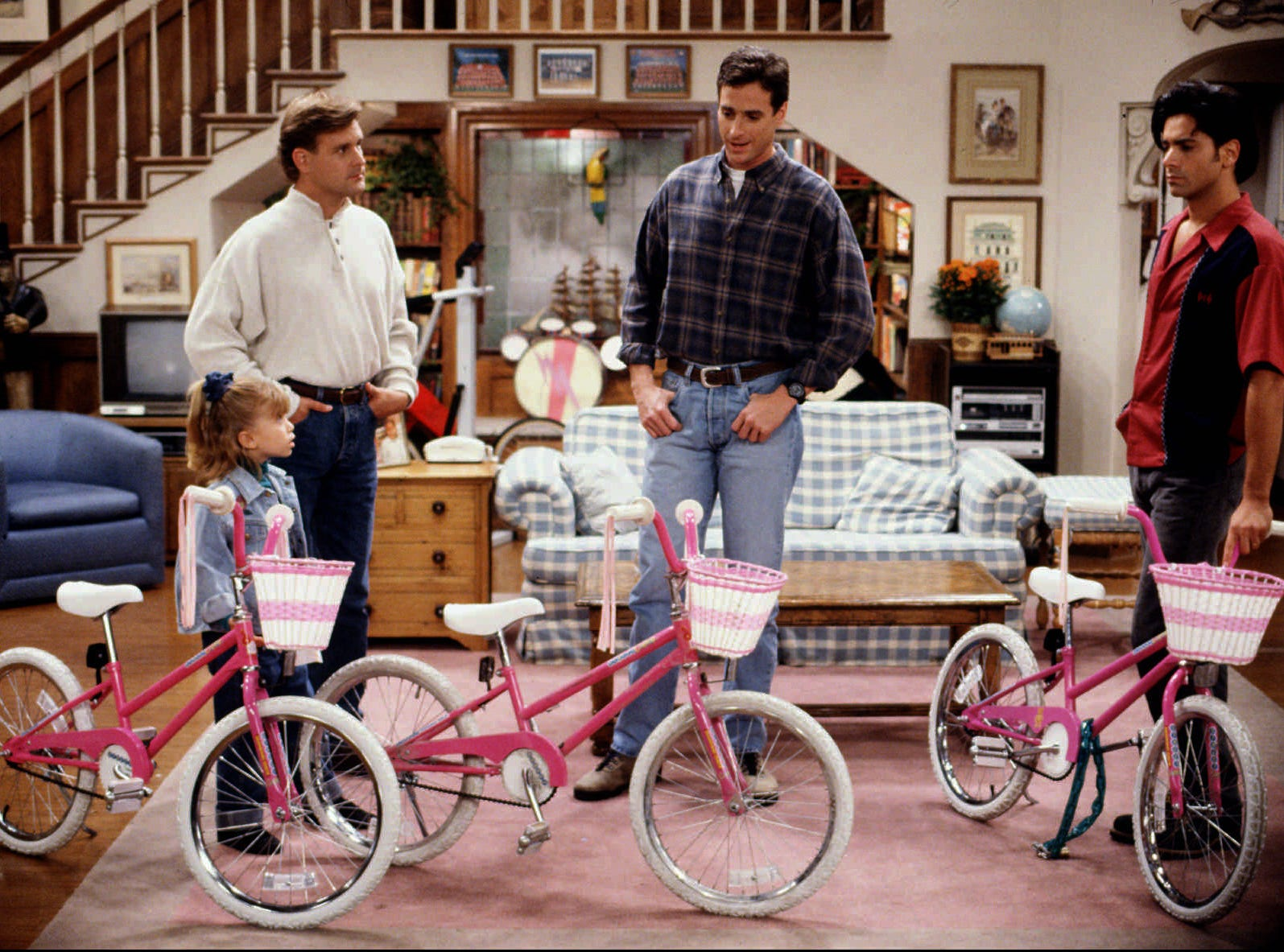 "ABC8 (11/2/93) -- FULL HOUSE -- Joey (Dave Coulier, left), Danny (Bob Saget, center), and Jesse (John Stamos, right) realize they've got a big problem when they each show up with what they think is Michelle's (Mary-Kate Olsen, left) stolen bike on ""The Bicycle Thief"" episode of FULL HOUSE airing TUESDAY, NOVEMBER 23 (8:00-8:30 p.m., ET) on the ABC Television Network."