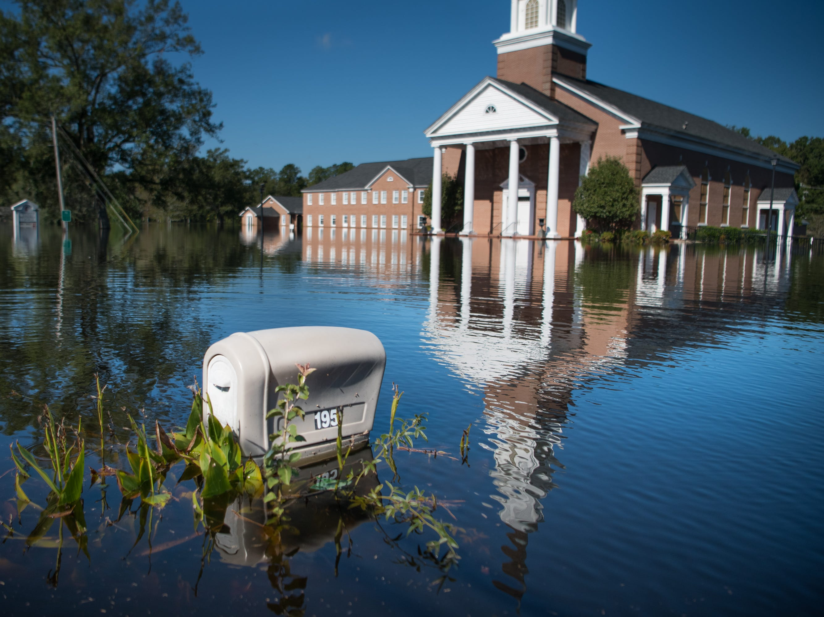 Trinity United Methodist Church is inundated by floodwaters caused by Hurricane Florence near the Crabtree Swamp on Sept. 26, 2018 in Conway, S.C.
