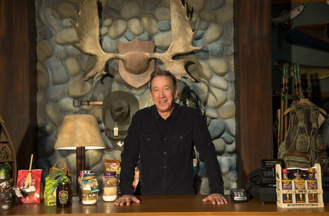 """Tim Allen stands on the Outdoor Man store set of """"Last Man Standing,"""" which is open for business on Fox a year after ABC canceled it."""