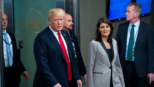 President Donald Trump addresses arrives with Nikki Haley, the U.S. ambassador to the UN, during the 73rd session of the United Nations General Assembly, at U.N. headquarters, Tuesday, Sept. 25, 2018. (AP Photo/Craig Ruttle)
