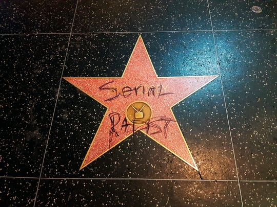 "Bill Cosby's star on the Hollywood Walk of Fame has been vandalized a few times since allegations arose against him, this time in early September, when someone scrawled ""serial rapist"" on it."