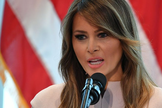 First lady Melania Trump hosts a reception at the US Mission to the United Nations in New York on Sept. 26, 2018.