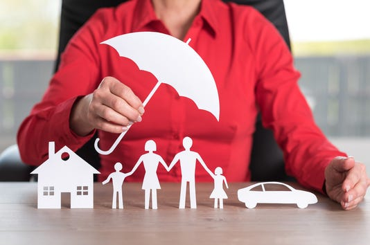 Concept Of Insured House Family And Car
