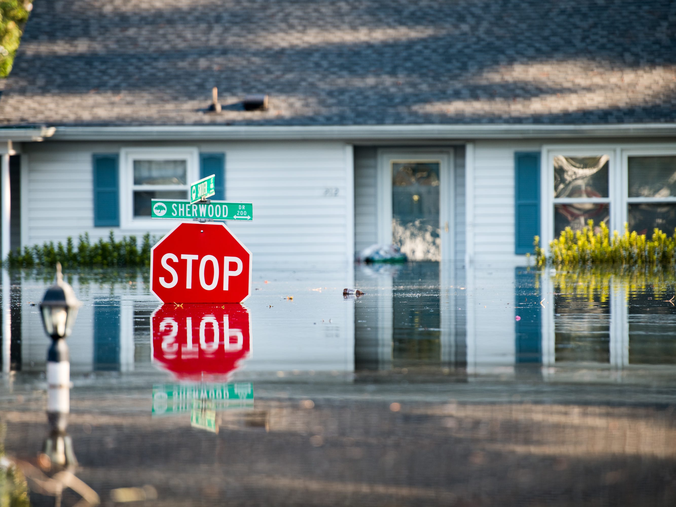 A home is inundated by floodwaters caused by Hurricane Florence near the Crabtree Swamp on Sept. 26, 2018 in Conway, S.C.