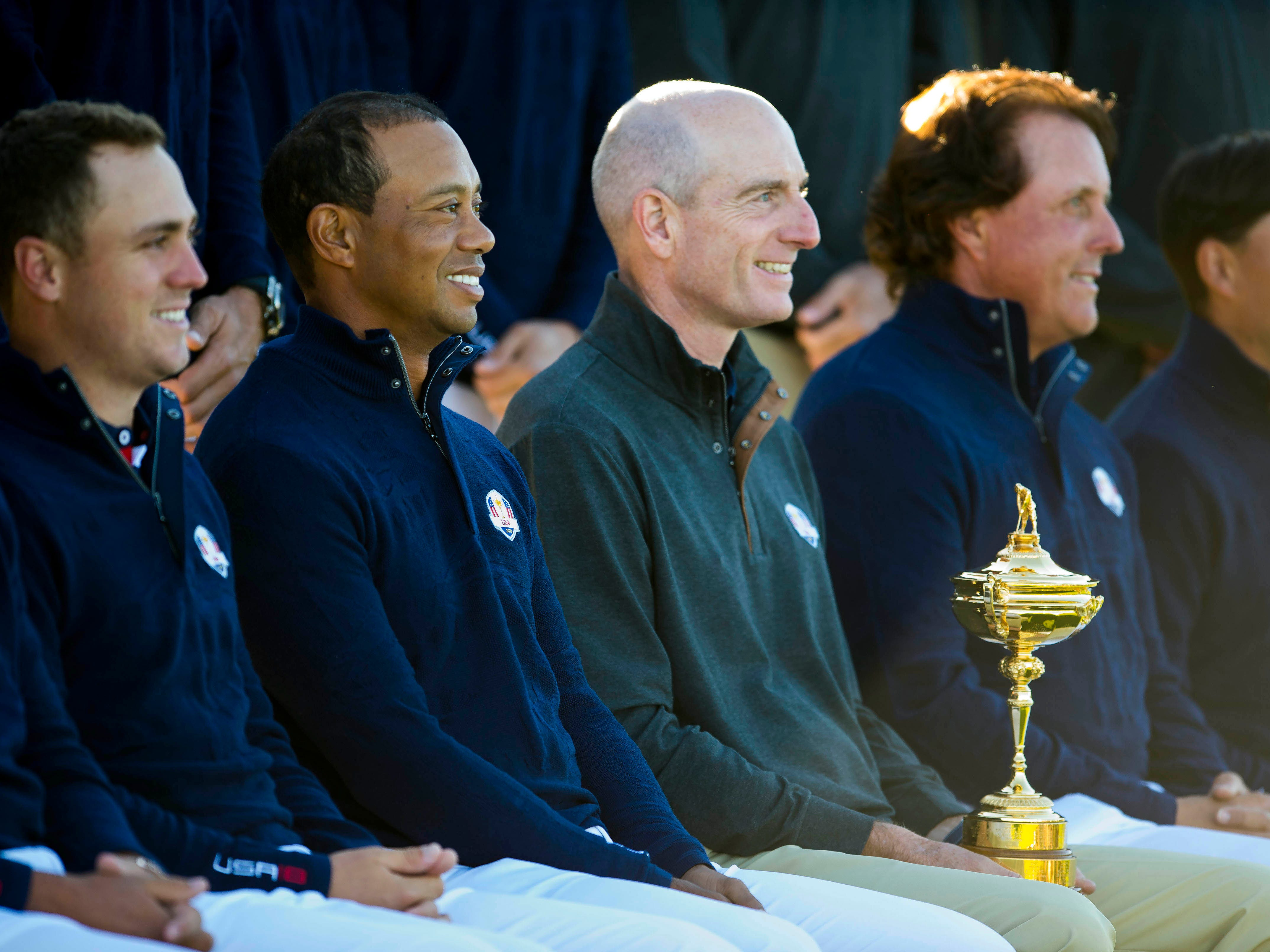 American Ryder Cup captain Jim Furyk and team members with the Ryder cup at the American team photo session.