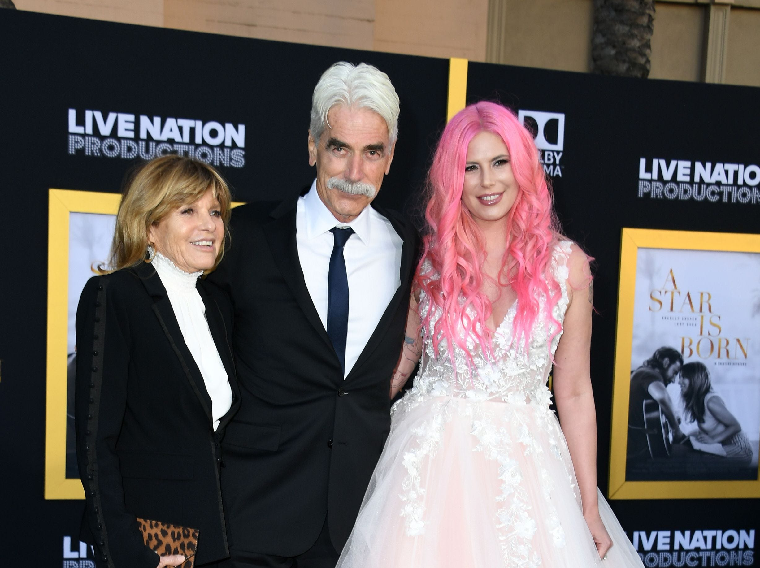 "(L-R) Actress Katharine Ross, actor Sam Elliott and their daughter musician Cleo Rose Elliott attend the premiere of ""A star is born"" at the Shrine Auditorium in Los Angeles, California on September 24, 2018. (Photo by VALERIE MACON / AFP)VALERIE MACON/AFP/Getty Images ORG XMIT: Premiere ORIG FILE ID: AFP_19E5WK"