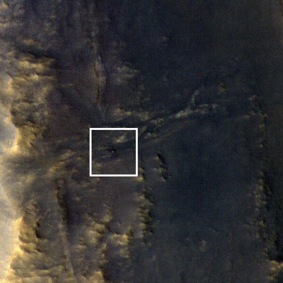 An image released by NASA shows the rover Opportunity, represented by a blip inside the white square, on Mars.