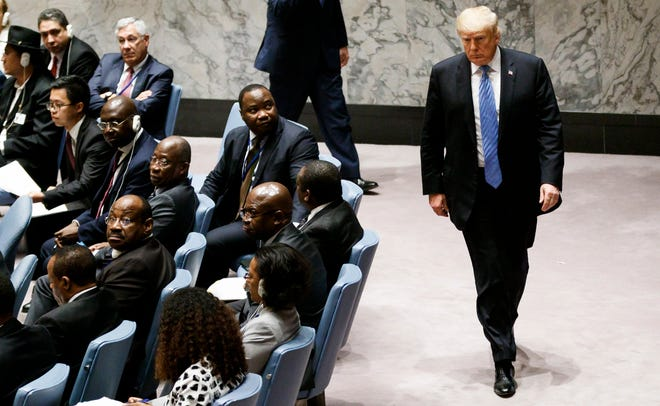 President Donald J. Trump leaves a United Nations Security Council meeting about the non-proliferation of weapons of mass destruction on the sidelines of the General Debate of the 73rd session of the General Assembly of the UN at UN Headquarters in New York on Sept. 26, 2018.