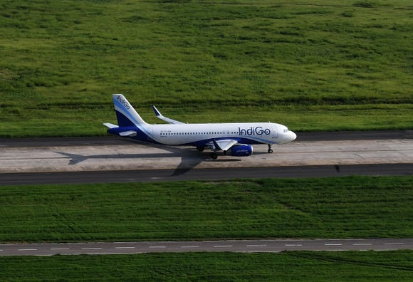 This file photo from Aug. 9, 2018, shows an aircraft of India's IndiGo at the Indira Gandhi International Airport in New Delhi.
