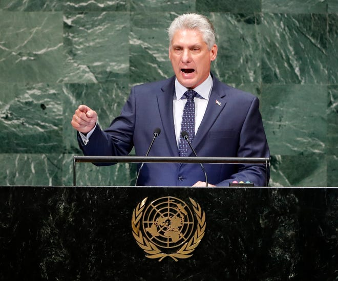 Cuban President Miguel Díaz-Canel delivers his first address to United Nations General Assembly in New York City on Sept. 26, 2018.