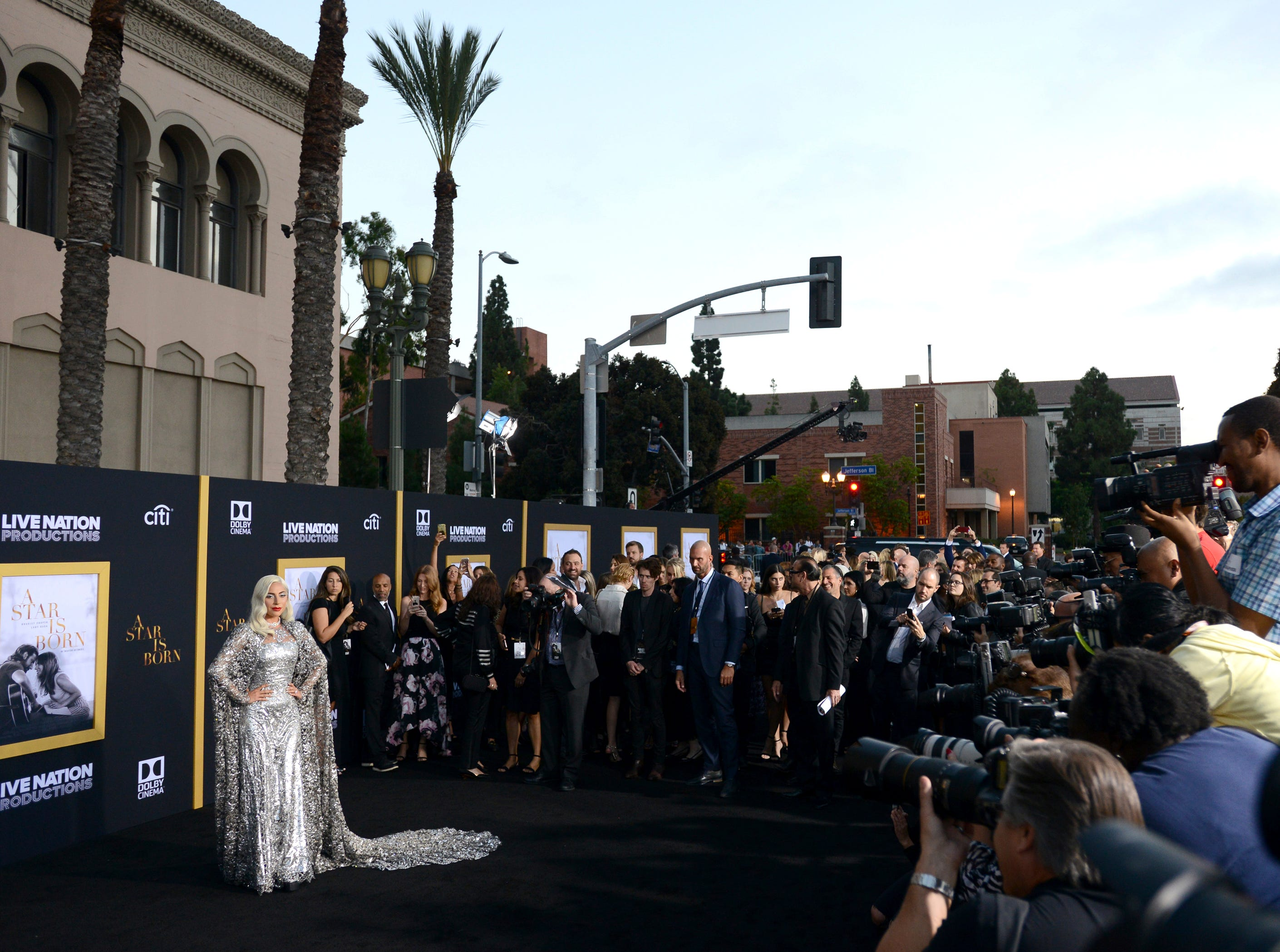 "Lady Gaga arrives at the Los Angeles premiere of ""A Star Is Born"" on Monday, Sept. 24, 2018, at the Shrine Auditorium. (Photo by Jordan Strauss/Invision/AP) ORG XMIT: CAPM141"