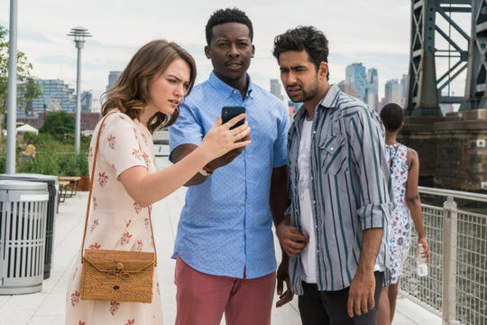 """""""God Friended Me"""" premieres on CBS Sunday at 8:30 EDT/PDT. (From left: Violett Beane, Brandon Micheal Hall and Suraj Sharma)"""