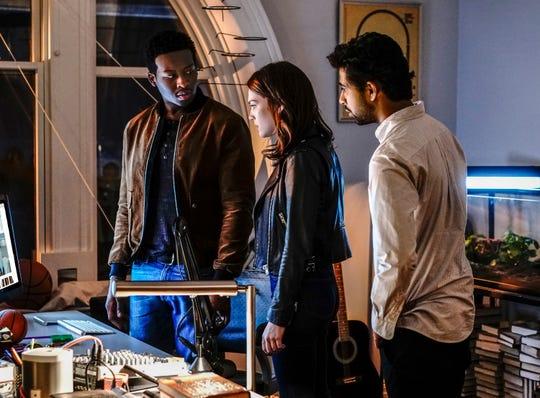 "Brandon Micheal Hall as Miles Finer, Violett Beane as Cara Weiss and Suraj Sharma as Rakesh Sehgal on ""God Friended Me."""