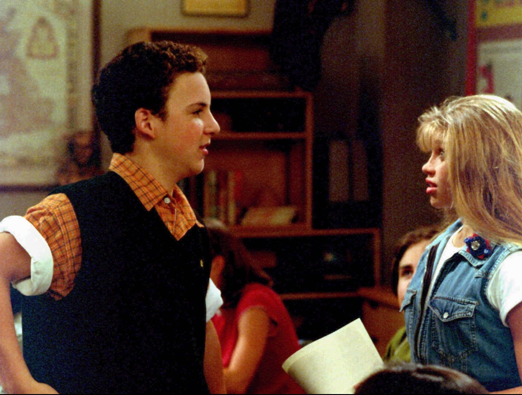 "ABC21 (9/22/95)--BOY MEETS WORLD-- When Cory (Ben Savage, left) finally gets up the nerve to ask Topanga (Danielle Fishel, right) to be his girlfriend and invites her to the first school function, he is shocked to discover that Shawn has already asked her, on the ""My Best Friend's Girl"" episode of BOY MEETS WORLD airing FRIDAY, SEPT. 22 (8:30-9:00 p.m., ET) on the ABC Television Network. ORG XMIT: ABC21"