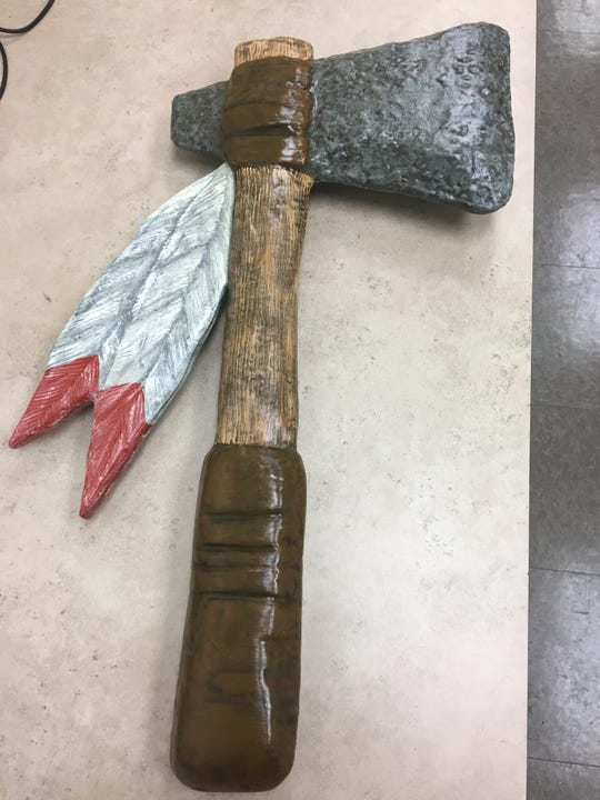 """Created by Tioga art teacher Rick Soileau, the Indians' """"Turnover Tomahawk"""" debuted this year."""