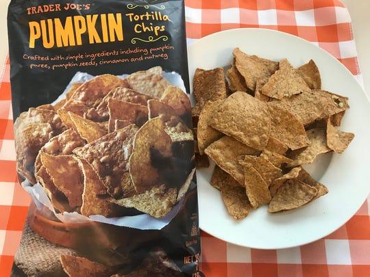 Pumpkin-flavored tortilla chips from Trader Joe's.