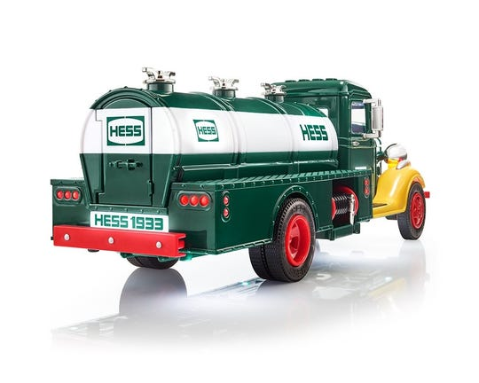 The license plate on the toy truck commemorates the 85th anniversary of the Hess Corporation.