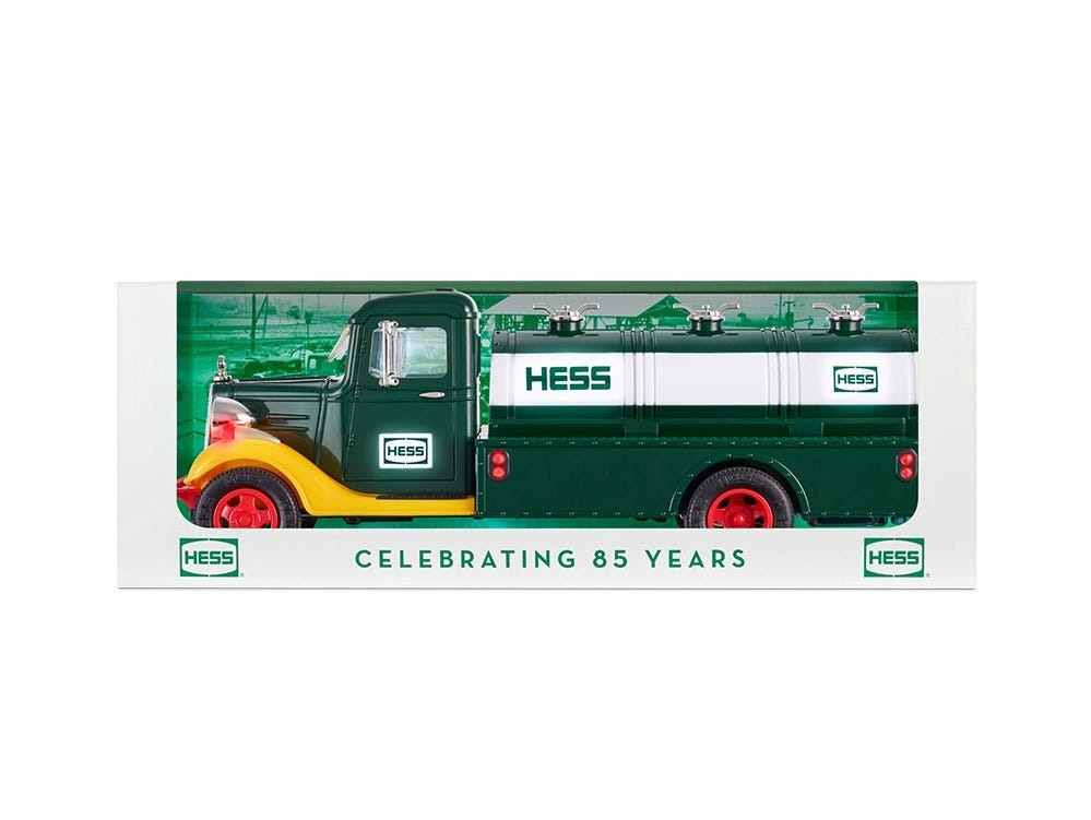 The new Hess truck commemorates the 85th anniversary of Hess Corporation.
