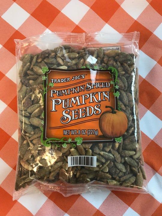 Pumpkin-spiced pumpkin seeds from Traader Joe's.